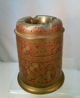RARE Vtg Brass Ashtray Humidor Stash Trinket Box Red Enamel Inlay BEAUTIFUL!