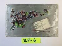 C.1909 Best Wishes Beautiful Flowers SILVER Embossed OLD Vintage Postcard ZP-6