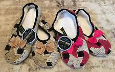 Snoozies Artisan Ballet Style Cozy Slippers Women's Large 2 Pair