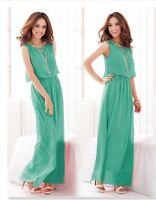 Womens Chiffon Fully Lined BOHO Pleated Dress Maxi Long PLUS Sizes UK 8-26
