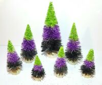 WITCHY POO Mini CANDY CORN HALLOWEEN Miniature Ombre Sisal Bottle Brush Tree Set