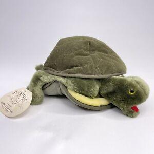Folktails Vintage Folkmanis Turtle Plush Hand Puppet Fury Green Educational Toy