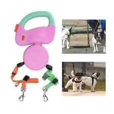 Automatic Double Dual Dog Leash Retractable Extending Pet Lead Leashes Dog