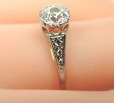 Antique Art Deco Vintage European Diamond Engagement Platinum 18K Ring EGL USA
