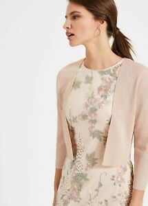 PHASE EIGHT Salma Pink Gold Shimmer Lurex Jacket Shrug Bolero Crop Cardigan 12
