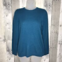 LL Bean Blue 100% Cashmere Crew Neck Pullover sweater Women Size Small S