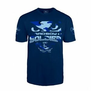 Bad Boy MMA Soldier T Shirt Navy Blue Casual Wear Clothing Top Martial Arts