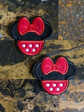 """2 Minnie Mouse Red Baby Iron On Sew On Patch 2.5""""L x 2.75"""" W Same Day Ship"""