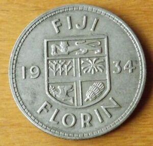 Fiji British Silver Florin Coin 1934 Almost UNC Grade Superb Example Scarce....