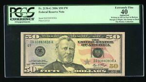 DBR 2006 $50 Binary 8/3 FRN Chicago Fr. 2130-G PCGS App XF-40 Serial IG33883838A