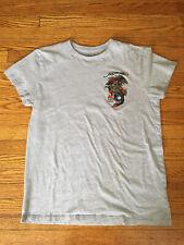 Ed Hardy Men's Gray Short Sleeve T-Shirt Embroidered Dragon Size Medium