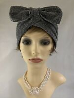 Vintage Retro 1950s Style Silver Lamé Turban Chemo Removable Bow Unlined 22 '