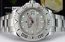 ROLEX Mens 40mm Platinum & Stainless YachtMaster BOX BOOKS TAG 16622 SANT BLANC