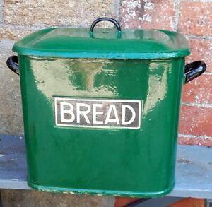 Vintage green painted bread bin