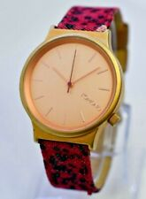 "Rose Gold Tone KOMONO ""I Am The Wizard"" Watch, Pink/Black Leopard Print Band"