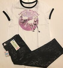 Justice Girls Totally Magical Unicorn T-Shirt & Cropped Leggings, 14/16, Nwt