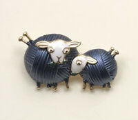 Adorable Sheep Brooch  Pendant enamel on metal