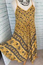 GOOSE ISLAND Yellow Summer Dress Elephant Print Medium 12 14 UK Boho Quirky b35