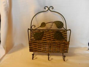 Green Metal With Wicker Letter Holder With 3 Hat or Key Hooks, Wall Mount