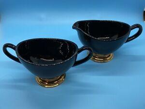 Vintage Art Deco Black Amethyst Glass Creamer and Sugar