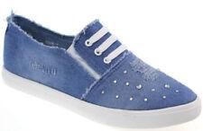 Scarpe da ginnastica plateau, zeppe blu con stringhe per donna