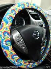 Hand Made Steering Wheel Covers Tye Dye Puppy Paws and Bones