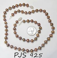 "Signed PJS 925 Sterling Silver Chocolate Pearl Necklace/Bracelet Set 18"", 7.5"""