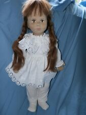 """Karin Heller 18"""" Doll & Outfit Cloth Human Hair Number 106 Signed 10/1982 Brown"""