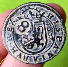 awesome 1607 PIRATE COB SPANISH 8 Maravedis Colonial Coin Felipe PHILIP III