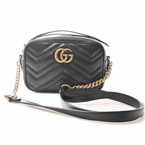 Auth Gucci GG Marmont Leather Quilted Mini Bag Shoulder Black