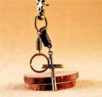 Jesus On The Cross classic Vintage Brozen Genuine Leather keychain Key Ring