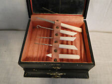 Vintage 5 Piece Bakelite Handles Set, 3 Manicure and 2 Button Hooks in Box
