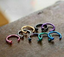 8pcs Nose Ring Open Hoop Lip Body Piercing clip on Studs Titanium Steel Jewelry