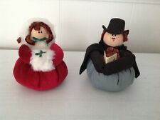 Vintage Hand Crafted CHRISTMAS CAROLERS SET - Man & Woman - Stuffed & Weighted