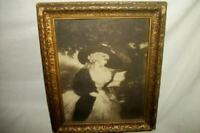 ANTIQUE SEPIA FRENCH LADY READING PRINT PICTURE CHIPPY GILT FRAME PARIS APT