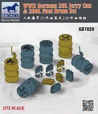 BRONCO GB7020 1/72  WWII German 20L Jerry can & 200L Fuel Drum Set