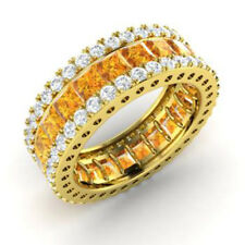 5.56 Ct Genuine Real Diamond Citrine Band 14K Solid Yellow Gold Ring Size L M N