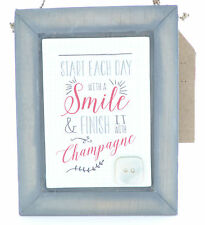 Wood Wooden East of India Rustic Sign Plaque Champagne Smile Home Decor Gift