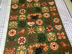 """6.5 Yds X 54"""" Vintage LANCASTER COLONIAL Olive Green DECORATOR FABRIC"""