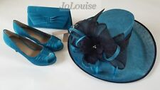 Jacques Vert Shoes Bag & Hat~ Size 5 / 6 / 7 ~ Blue Mother Of The Bride Wedding