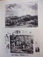 gravure in folio:  Paysage (1833).... Le ruisseau (1829) par PAUL HUET