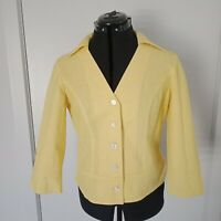 G2 Womens Linen Cotton Top Button Front 3/4 Sleeve Yellow Size 10