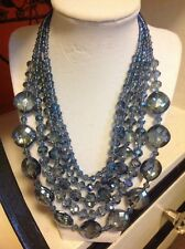 NWOT Stunning Blue Faux Crystal Bead Statement Necklace