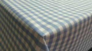 PLAIN LINEN FEEL GINGHAM CHECK BLUE WHITE PVC VINYL TABLE CLOTH MATERIAL FABRIC