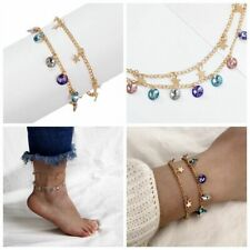 2 Pcs Lady Candy Colors Anklet Beads Pendant Ankle Chain Bracelet Foot Jewelry