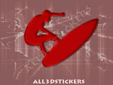 3D Sticker Decal Resin Domed Surfer Surf Adhesive Decal  Maroon