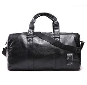 New Mens Black Large Leather Travel Gym Bag Weekend Overnight Duffle Handbag