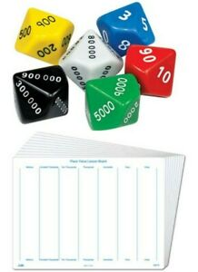 Sets of 6 Place Value Dice & Write n Wipe Board Math's Teaching Resources