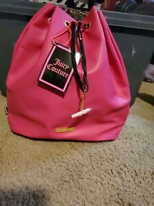 Juicy Couture Pink Faux Leather Drawstring Backpack Bag/Purse Shopping. NWT