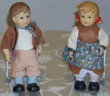 Vintage Pair Boy & Girl Bisque Dolls w Moveable Arms & Legs